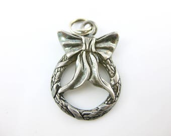 Vintage Sterling Silver Ribbon and Wreath Charm by Jezlaine