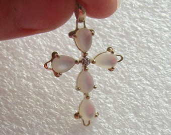 RESERVED for countrygirlfaith, Mother of Pearl & Diamond solid 10K Y gold Cross Pendant, very unusual, free US first class shipping