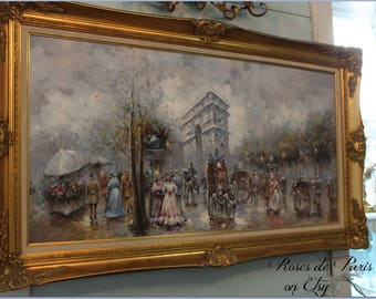 Signed vintage painting on canvas Champs Elysees Paris France featuring Arc D Triomphe  Nice gilt frame J Gaston