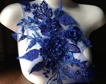 Metallic Sapphire Blue 3D Applique , Beaded and Embroidered for Lyrical Dance, Ballet, Couture Gowns F24-2