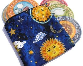 Summer Sale Celestial Zippered Tarot Bag,Cosmetic Bag, Makeup Bag,Jewelry Bag,Change Purse,Toiletry Bag,Small Zippered Pouch,Zipper Bag, Gif