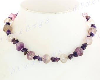 "16 1/2"" Gorgeous Fluorite Gemstone 925 Sterling Silver Necklace"