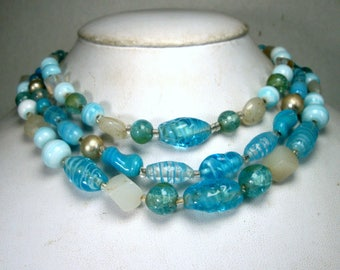Mad Men Aqua n Turquoise Glass Bead CHOKER Necklace, 1950s, 3 Strands of Adjustable JAPAN Art Glass Beads, Bondage Tight