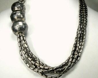 Tribal Silver Multistrand Necklace Necklace, Late 1980s Boho Style