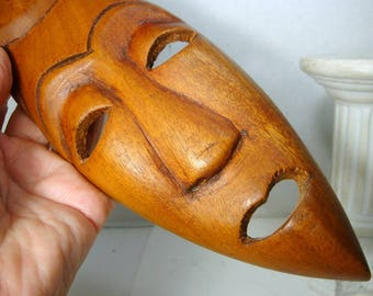 Vintage African Wood Mask, 1980s, Tribal Art, Narrow Hand Carved Spirit Face, Right Off My Wall
