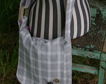 Chrissy's Messenger  Bag -  Grey Plaid