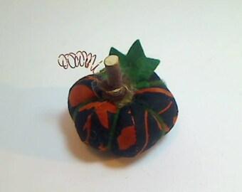Miniature Pumpkin |Batik Black & Orange Pumpkin | Halloween Decor | Fall Decor | Thanksgiving Decor| Handmade Gift |Fabric Pumpkin | #8