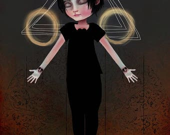 "50% Off SALE Fine Art Print ""Stigma"" (boy version) 11x17 or 13x19 Large Premium Giclee Print by Jessica von Braun - Print - Creepy Cute Art"