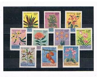 Vintage Floral Postage Stamps - Maluku Selatan 2 | flower illustrations, 50s Indonesia postal stamps part set | Mother's Day card toppers