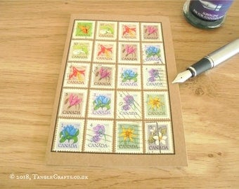 Canada Flowers Travel Notebook, Vintage 1970s Postage Stamp Journal