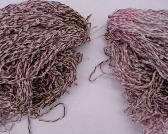 Hand dyed cotton bamboo bounce  yarn.  Natural elderberry dye. Walnut dye. Brown yarn. Purple yarn. Pink yarn.Down to earth III.