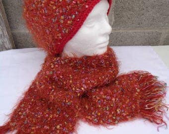 Crochet hat .Knitted  scarf.  Hat and scarf.  Red hat and scarf. Festiv set. Cristmas delight.