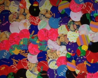 """100 Large 2"""" Die Cut Circles from Vintage Children's Gift Wrap for Paper Crafting"""