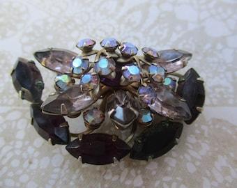 Vintage Rhinestone Brooch Purple Layered Riveted Pin