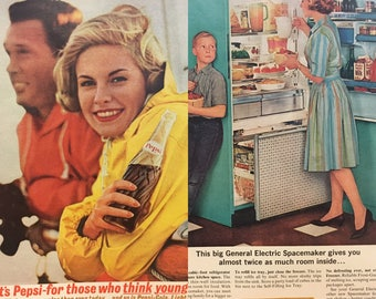 Vintage Pepsi Cola Magazine Advertisement--Taken From LIFE Magazine in 1963--For Those Who Think Young--Retro GE Refrigerator Advertisement