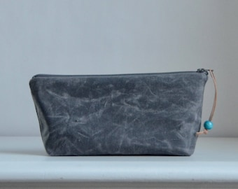 Charcoal Waxed Canvas Zipper Pouch Gadget Case Cosmetics Bag - READY TO SHIP