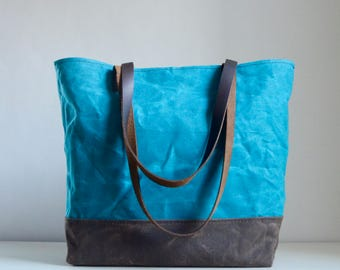 Teal Waxed Canvas Tote Bag with Leather Straps - Ready to Ship