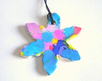 Snowflake Ornament – Winter Decoration – Handmade Ceramics - Alcohol Ink Art – Home Décor – Stoneware Pottery