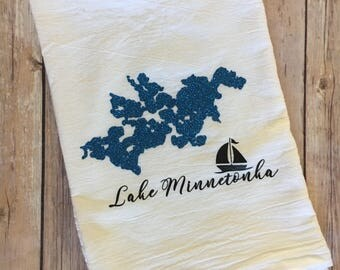Lake Minnetonka flour sack towel, kitchen towel