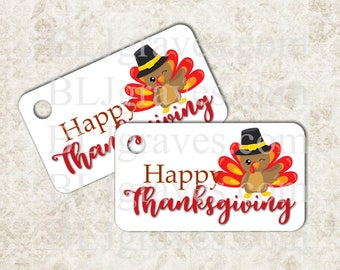 Personalized Thanksgiving Turkey Gift Tags Happy Thanksgiving Handmade Party Favor Treat Bag Tags T035