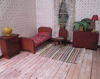 "Vintage Kage Dollhouse Furniture- Four Piece Bedroom Set  - 3/4"" Scale - 1930's-40's"