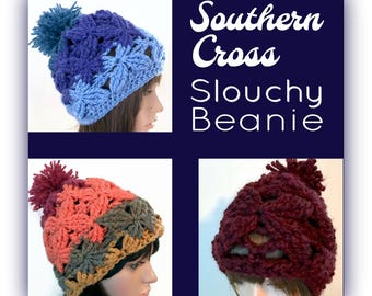 Southern Cross - Textural Slouchy Beanie -CHOICE of THREE Distinct Colorations - women girl teen - rasta boho indie - thick chunky warm