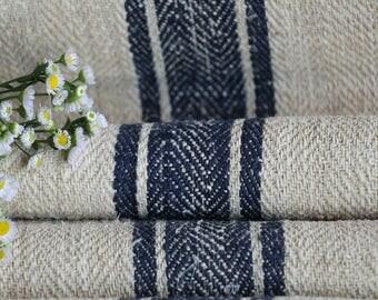 R 759: antique, hemp, french, 천, BLACKBERRY BLUE, upholstery 9.29 yards handloomed STAIRUNNER  benchcushion Beachhouse look