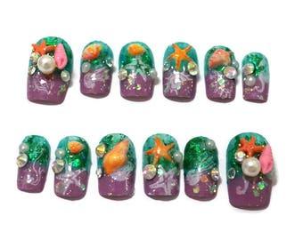 Mermaid nails, kawaii nails, deco nails, 3D nails, false nails, mermaid jewelry, holographic nail, sea jewelry, summer fashion,
