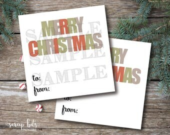Instant Download Merry Christmas Tags, Printable To From Christmas Tags, Printable Christmas Labels