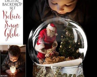 50% Off - Christmas Digital Background, Photo Overlays, Background Replacement, Photography Backgrounds & Backdrops, Believe Santa Snow Glob
