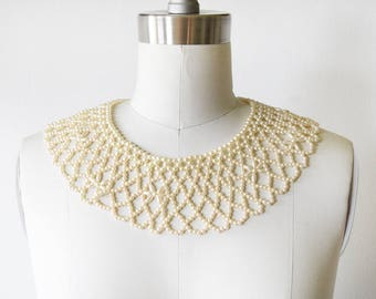 ivory beaded collar, vintage pearl collar necklace, faux pearl bib necklace