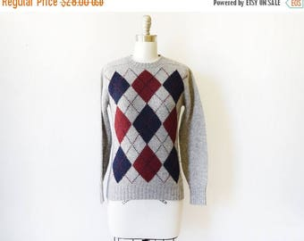 20% OFF SALE argyle sweater, vintage gray sweater, Scottish wool sweater, extra small