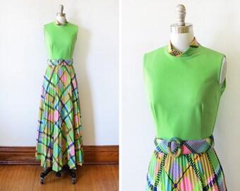 70s maxi dress set, vintage 1970s green mod dress, rainbow plaid accordion pleated dress, dress with jacket, 60s hostess gown, s/m
