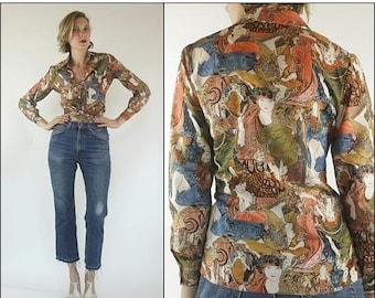 SUMMER SALE Vintage 70s Art Nouveau Boho Novelty print Button up Blouse Shirt XS S