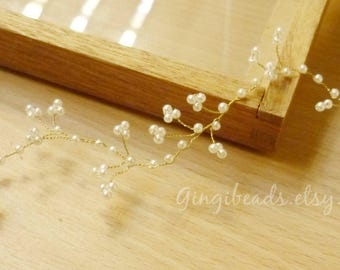 Pearl wedding Tiaras and hair vines, pearl, gold wire, small pearls, for the flower girl, hairvine, pearl hair vine