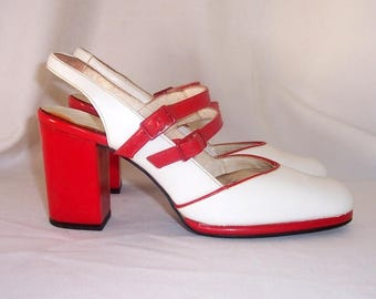 Sz 7aa Vintage women red and white patent leather 1960s sling back Mary Jane shoes.