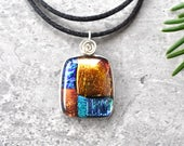 Color Block Primarily Dichroic Glass Pendant
