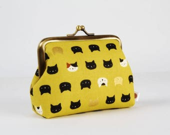 Metal frame change purse - Mini Neko cats on yellow - Deep dad / Kawaii japanese fabric / white and black cats / metallic gold / stars