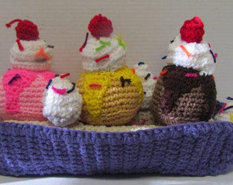 Amigurumi Banana Split~Crochet Play Food~Banana Split~Kitchen Food~Ice Cream Toy~Pretend Play~Photo Prop~Daycare~Nursery School Toy~Handmade