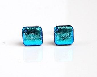 Blue Metallic Stud Earrings - Light Blue Glass Earrings - Earrings for Women -  Dichroic Glass Studs - Blue Stud Earrings - ES 692