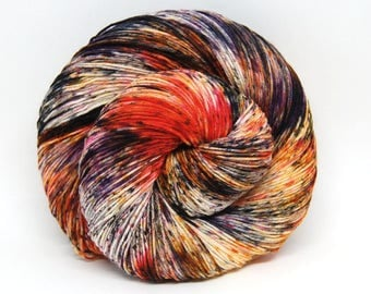 "Hardcore Sock Yarn - ""Punk Rock Pumpkin"" - Handpainted Superwash Merino - 463 Yards"