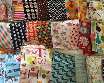 DESTASH SALE! Large Lot of Cotton Fat Quarter & Fabric Scraps - Great for Quilting, Patching, Crafting - Some Ann Kelle Fabrics Included