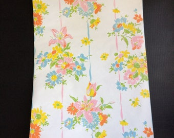 4+ Yards Roll Vintage Floral Wallpaper Flower Power Kitchen Home Shabby Chic Country Cottage Altered Art Craft Projects Decoration
