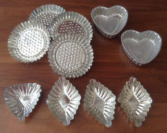 10 Vintage Tart Tins, Cooking, Soap Molds, Candle Holders, Madelines