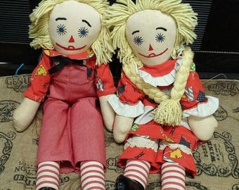 on sale Raggedy ann and Andy dolls