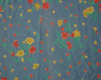 Blue Floral Stretchy Knit Fabric