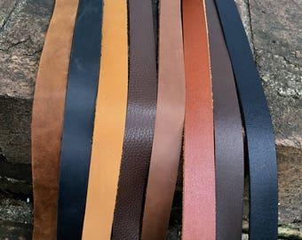 "Leather Strap, leather Strip- brown, black, purse strap, belt blank 3/4"" wide leather. 30, 45, 60, 72, 80 inch long, for belt, or bracelet"