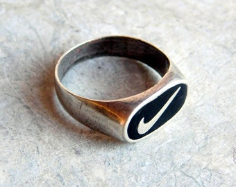Vintage Sterling Silver Nike Ring with Black Enamel - Nike Swoosh Logo Ring - Men's or Ladies' Ring Size 8 - Designer Advertising Ring
