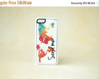 ON SALE Colorful World Map Art, White Silicone iPhone case, iPhone 6 Case, iPhone 6 Plus Case, 6+ Case, Inspirational Quote, Send Me