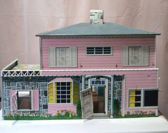 Tin Lithograph Dollhouse T Cohn Dollhouse 50s 60s Dollhouse Mid Century